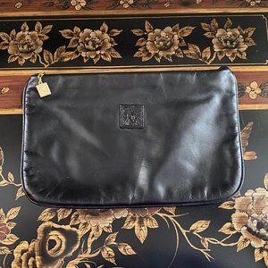 Anne Klein Black Leather Clutch (Vintage)